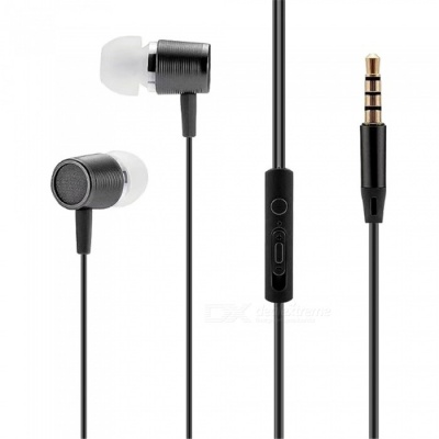 Portable 3.5mm Wired In-ear Super Bass Earphone with Microphone - Black