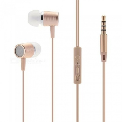 Portable 3.5mm Wired In-ear Super Bass Earphone with Microphone - Golden