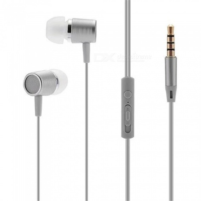 Portable 3.5mm Wired In-ear Super Bass Earphone with Microphone - Gray