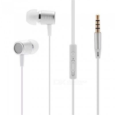 Portable 3.5mm Wired In-ear Super Bass Earphone with Microphone - White