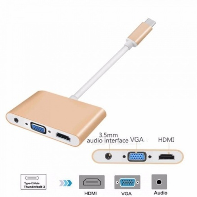 USB 3.1 Type-C to HDMI VGA Video Converter Hub with 3.5mm Audio Port for MacBook Pro