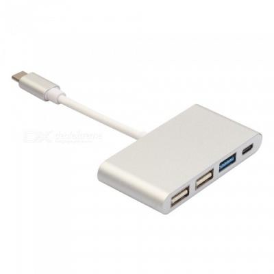 USB3.1 Type-C to 3-Port USB 3.0 Hub, OTG Charger Cable Adapter Converter for Phone Notebook - Silver