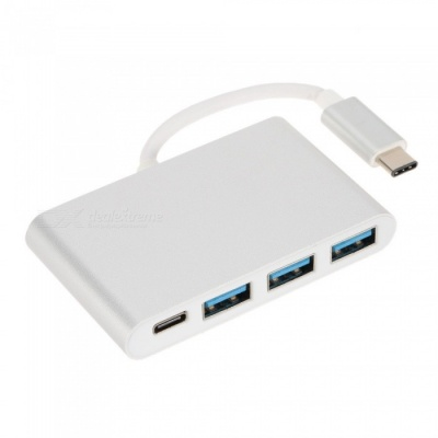 USB 3.1 Type-C to HDMI + 3 USB 3.0 Ports + PD Extender Adapter - Silver