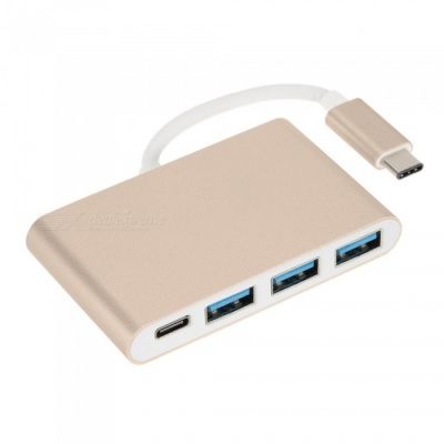 USB 3.1 Type-C to HDMI + 3 USB 3.0 Ports + PD Extender Adapter - Golden