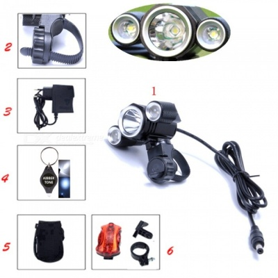 AIBBER TONE 3000 Lumens Bicycle Front Light, Cree T6 3-LED MTB Bike Headlight Flashlight for Cycling
