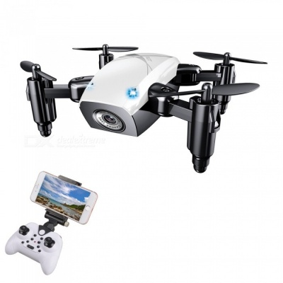S9HW 2.4G 4 Channel Wi-Fi FPV Foldable Mini RC Helicopter Quadcopter Drone with 0.3MP HD Camera - White
