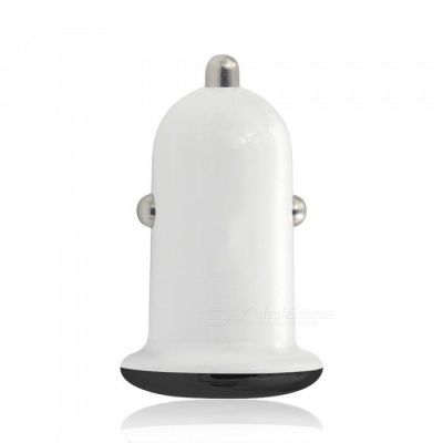5V 3.1A Quick Charge Dual USB Car Charger Adapter - White + Black