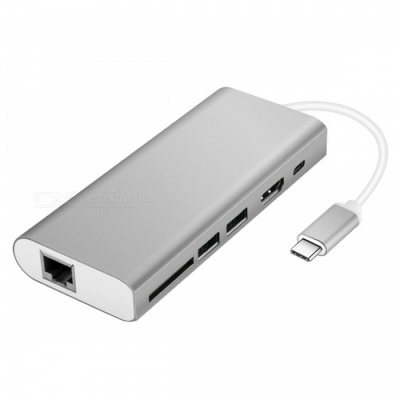 Multi-function Type-C Hub Adapter with USB3.0 / RJ45 Gigabit Ethernet / Type-C PD / HDMI / SD Card Slot - Silver
