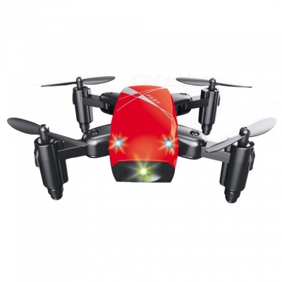 S9 RC Helicopter, 2.4G 4 Channel 6-Axis Gyro Mini Foldable Pocket Drone Quadcopter / Remote Control Toy - Red