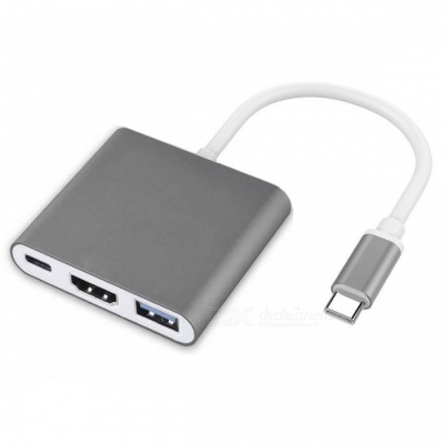 Cwxuan USB 3.1 Type-C Multiport Male to HDMI / USB 3.0 / Type-C HUB Charger Adapter - Grey