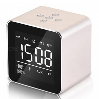 Multifunction LED Display Alarm Clock, Mini Wireless Bluetooth Speaker with Built-in Mic, 8H Music Playing Time - Golen