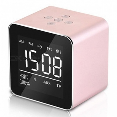 Multifunction LED Display Alarm Clock, Mini Wireless Bluetooth Speaker with Built-in Mic, 8H Music Playing Time - Pink