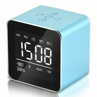 Multifunction LED Display Alarm Clock, Mini Wireless Bluetooth Speaker with Built-in Mic, 8H Music Playing Time - Blue