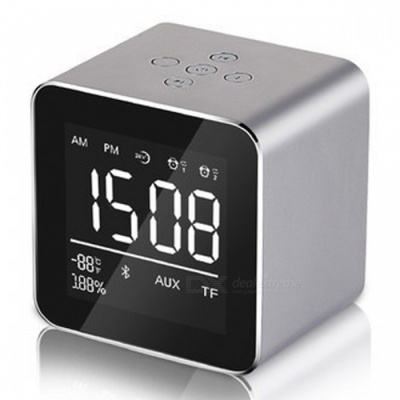 Multifunction LED Display Alarm Clock, Mini Wireless Bluetooth Speaker with Built-in Mic, 8H Music Playing Time - Gray