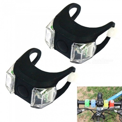 Mini Red and White Light 3-Mode Silicone Bicycle Warning Lamp - Black (2 PCS)
