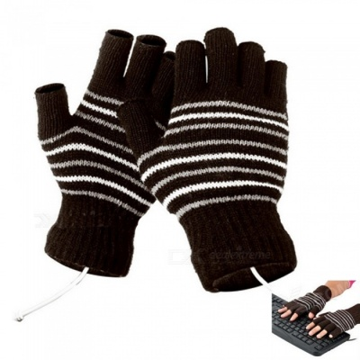 Men's Stylish USB Heating Warm Gloves - Brown