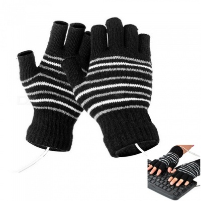 Men's Stylish USB Heating Warm Gloves - Black