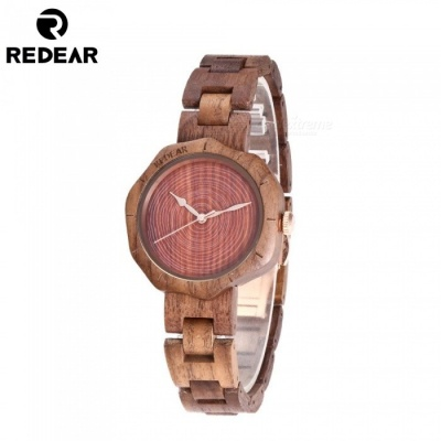 REDEAR 1644 Unique Fashion Top Walnut Wood Women's Quartz Watch with Wooden Band - Walnut