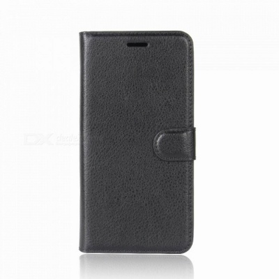 Lychee Pattern Protective PU Case for Huawei Y7 - Black