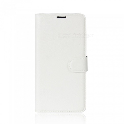 Lychee Pattern Protective PU Case for Huawei Y7 - White