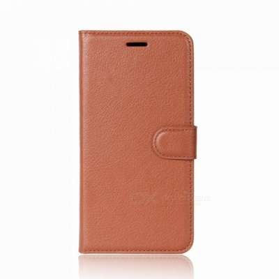 Lychee Pattern Protective PU Case for Huawei Y7 -Brown