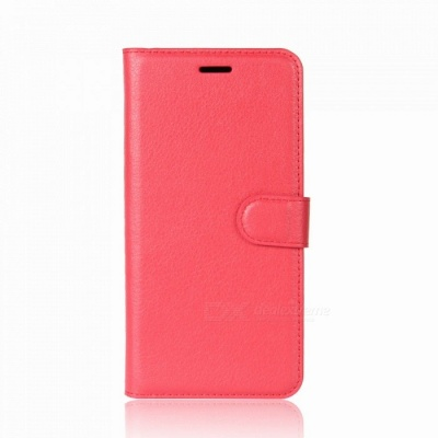 Lychee Pattern Protective PU Case for One Plus 5T - Red