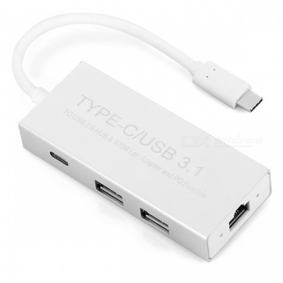 USB3.1 Type-C to Dual USB 2.0 Ports HUB Adapter with RJ45 Port - Silver