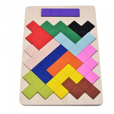 Wooden Tangram Tetris Block Jigsaw Intelligence Toy for Kids - Mixed Color