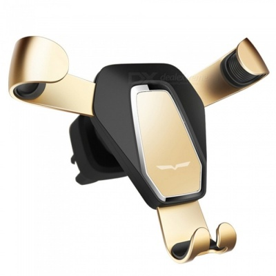 Luxury Iron Claw Shaped Gravity Car Phone Holder Metal Outlet Phone Stand Safe Triangle Bracket - Golden
