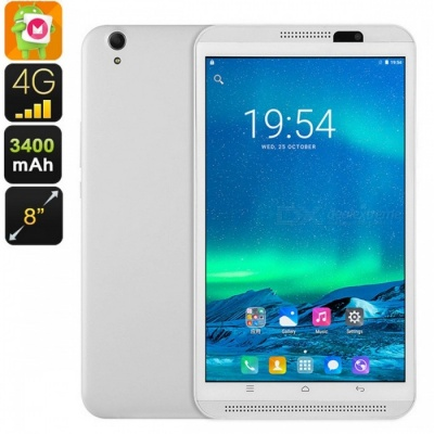 Dual-IMEI Android 6.0 8-Inch 4G Tablet PC with Quad-Core CPU, 2GB RAM, 4500mAh Battery - White