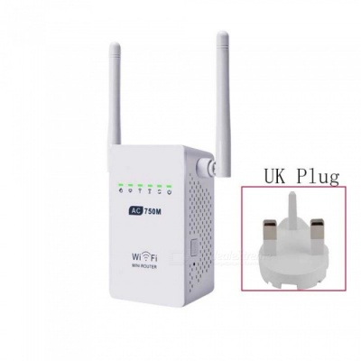750Mbps Wireless Wi-Fi Router Repeater Adapter - White (UK Plug)