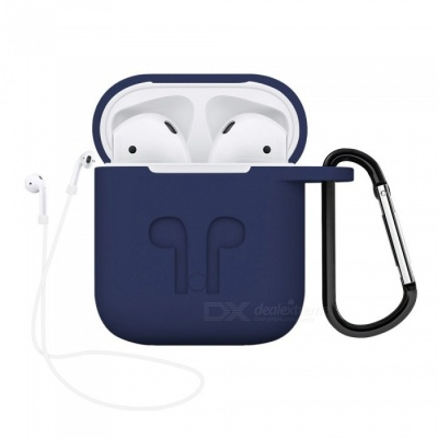 Portable Silicone Case with Key Chain for Apple AirPods - Blue