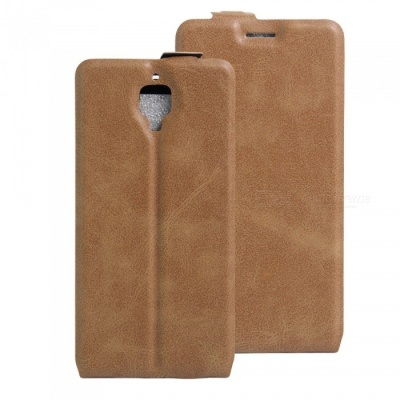 Up-Down Flip Open Protective PU Case for Oneplus 3 - Brown