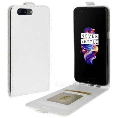 Up-Down Flip Open Protective PU Case for Oneplus 5 - White