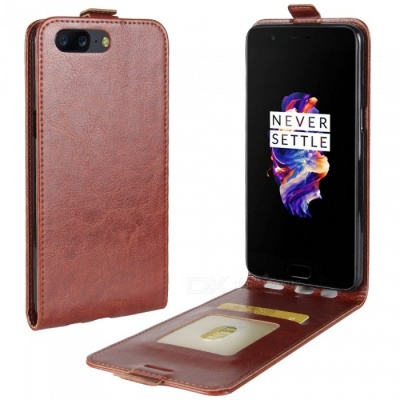 Up-Down Flip Open Protective PU Case for Oneplus 5 - Brown
