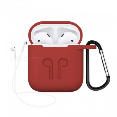 Portable Silicone Case with Key Chain for Apple AirPods - Red