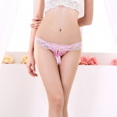 Fanshimite Women's Sexy Pearl Lace Bowknot T-back Underpant - Pink