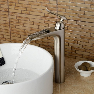 F-0701N Brass Waterfall Brushed One-Hole Bathroom Sink Faucet with Ceramic Valve, Single Handle