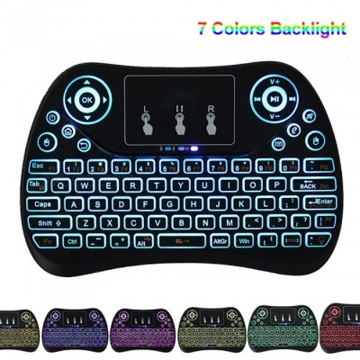 BLCR 2.4GHz Portable Mini Wireless Keyboard with Touchpad Mouse for Android TV BOX,PC,PAD,XBOX 360,PS3, Etc (Colorful Backlit)