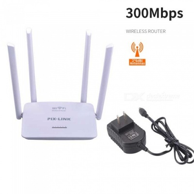 4 Antennas 300M Wireless Router Home Wireless Router Wireless Repeater - White (US Plug)