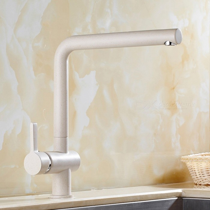 F-9107YMS Brass 360 Degree Rotatable Single Handle One-Hole Kitchen Faucet with Ceramic Valve