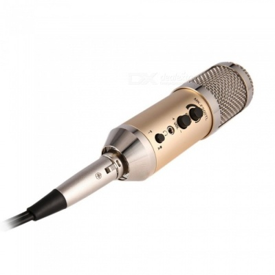 JEDX MK-F500TL Vocal Mic Professional Large Diaphragm Studio Recording Microphone for Computer Mobile Phone - Champagne Gold