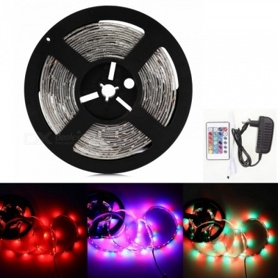 Sencart 5M 5630 RGB 300LED Waterproof Strip Light Flexible Tape 24-Key Remote EU 12V 2A Power Supply