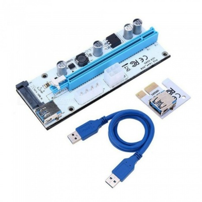 VER008S PCI-E Riser 1X 16X USB3.0 Adapter Card Cable Wire for BTC Miner - Blue