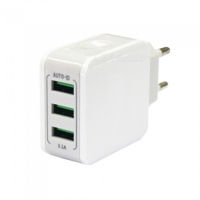 3-Port USB 15.5W 3.1A Mobile Phone Fast Charger - EU Plug