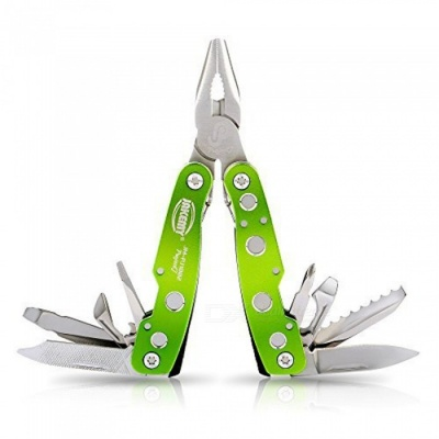 Mini Multifunctional Pliers Tool with Knife, Bottle / Can Opener, Screwsriver, Etc - Green + Silver (S)