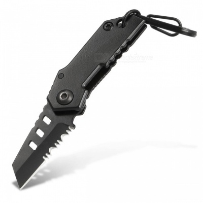 CTSmart B-2 Outdoor Mini Half-Tipped Folding Knife with Keychain - Black