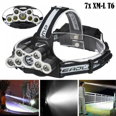 AIBBER TONE T6 7-LED USB Charging Head Light Headlamp Torch Flashlight with SOS Function for Outdoor Camping