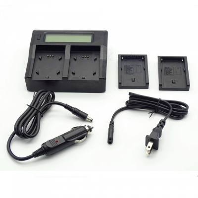 Portable LCD Display Double Slot Battery Charger - US Plug / Black
