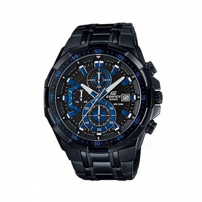 Casio Edifice EFR-539BK-1A2 New Model 100M Steel Band Men's Watch - Black + Blue